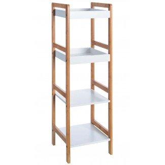 Estantería bambú White 4 estantes 100 cm