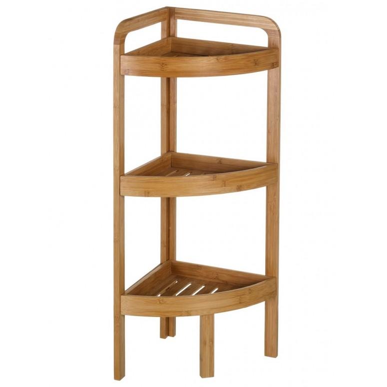 Rinconera de bambú de tres baldas 85 cm