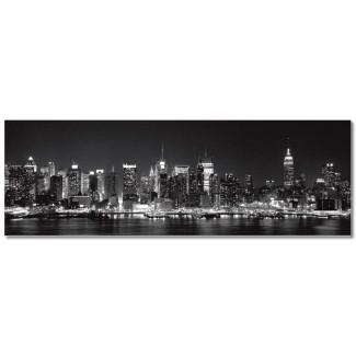 Lienzo fotoimpreso panorámico 180x60 Skyline in Black & White