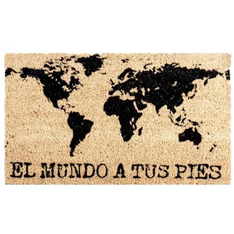 Felpudo goma y coco El mundo a tus pies 40x60 cm