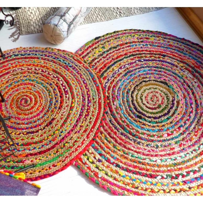 Alfombra redonda yute y algodón Bangali dos tamaños