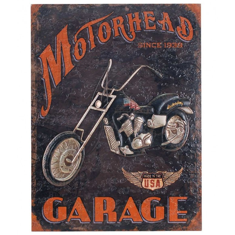 Decoración pared madera y metal Motorhead Garage 80x60 cm