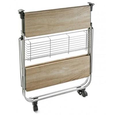 Mesa auxiliar plegable de cocina madera y metal 70x68 cm