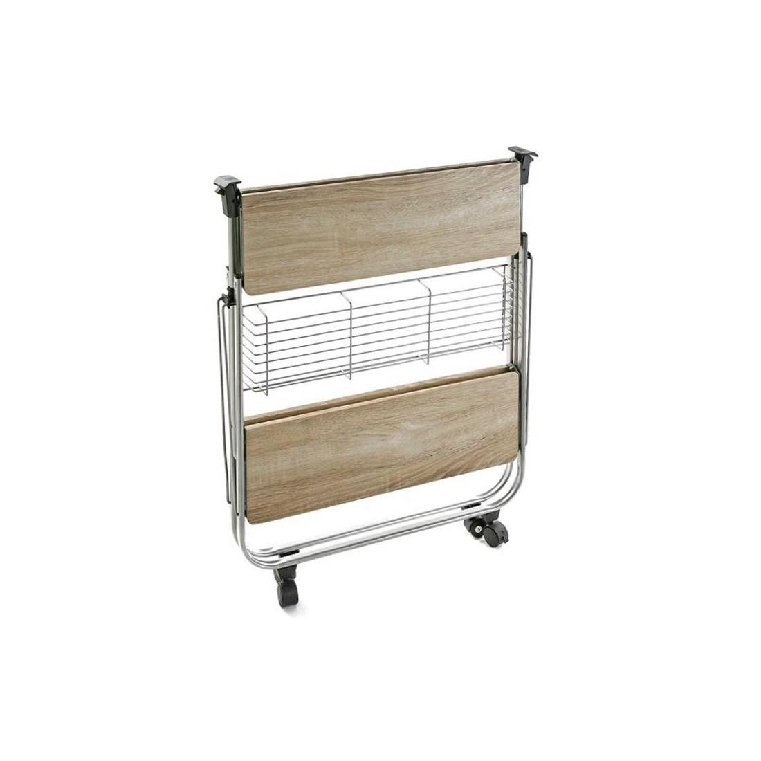 Mesa auxiliar plegable de cocina madera y metal 70x68 cm for Mesa carrito auxiliar de cocina