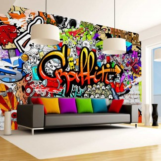 Fotomural para pared gran formato Colourful Graffiti