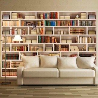 Fotomural para pared gran formato Biblioteca y Gato