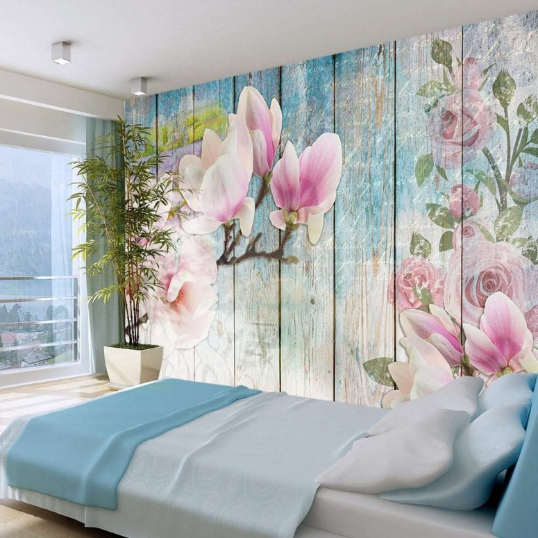 Fotomural para pared gran formato Flowers & Wood