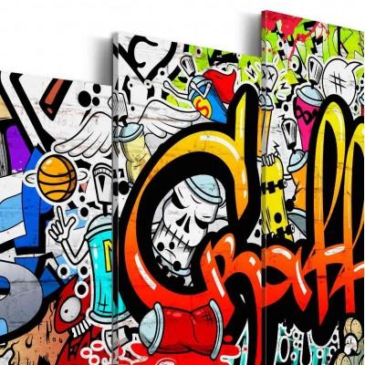 Cuadro impreso 5 piezas 200x100 Graffiti
