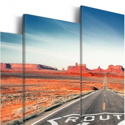 Cuadro impreso 5 piezas 200x100 Route 66