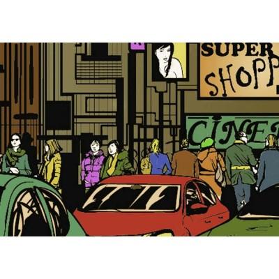 Cuadro impreso 5 piezas 200x100 New York Comic