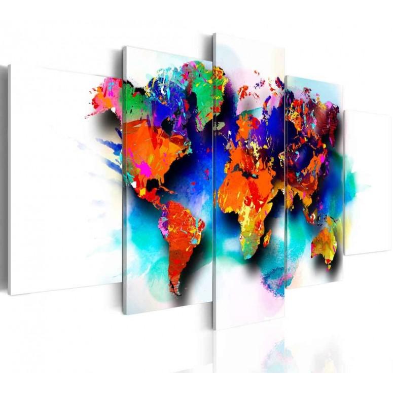 Cuadro impreso 5 piezas 200x100 Colores del Mundo