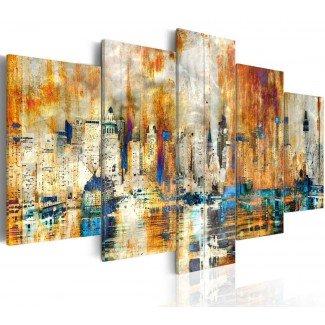 Cuadro impreso 5 piezas 200x100 Mytic City