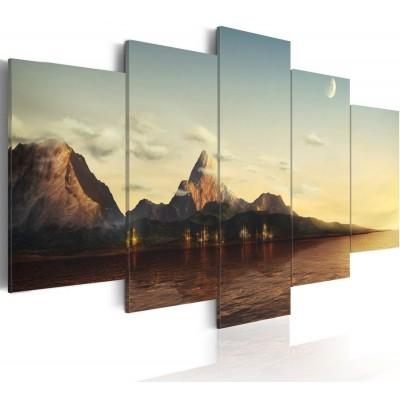 Cuadro impreso 5 piezas 200x100 Amanecer en las montañas