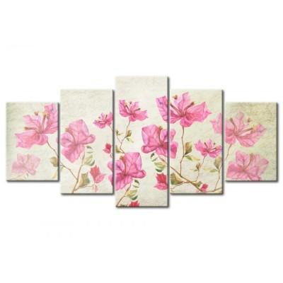 Cuadro impreso 5 piezas 200x100 Sinfonía de flores