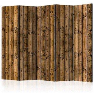 Biombo de 5 hojas Valla de madera 225x172 cm