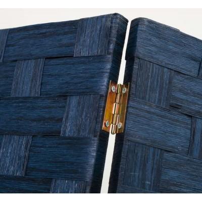 Biombo de tres hojas trenzado Azul 120x175 cm