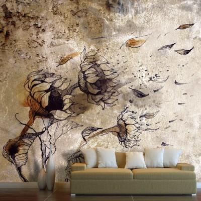 Fotomural para pared gran formato Girasoles al viento