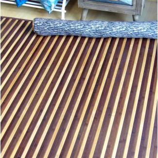 Alfombra de bambú rayas Spring color marrón