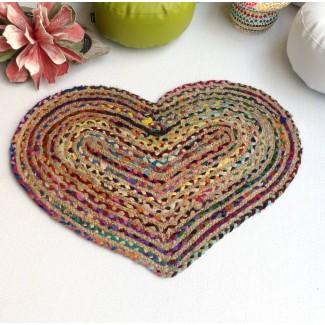 Alfombra redonda yute y algodón Corazón 60x90 cm