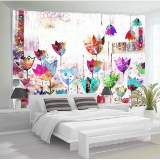 Fotomural para pared gran formato Tulipanes de colores
