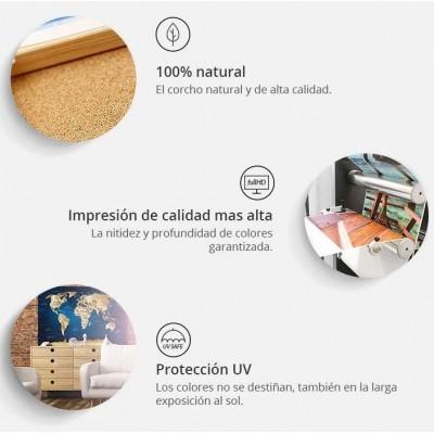 Tablero de corcho impreso Mapamundi Minimal