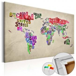 Tablero de corcho impreso Mundo Global