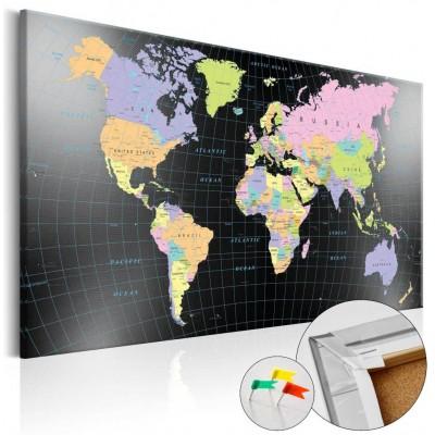 Tablero de corcho impreso Mundo Black Ocean