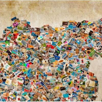 Tablero de corcho impreso Postales del Mundo