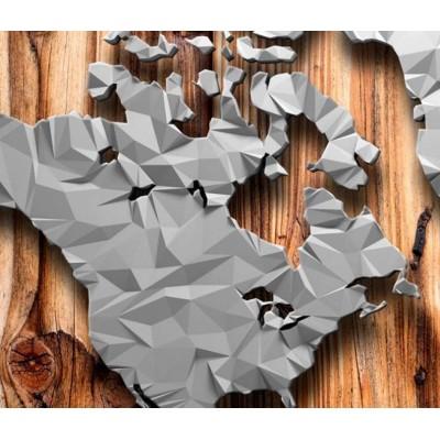 Tablero de corcho decorativo Mapamundi Polígonos