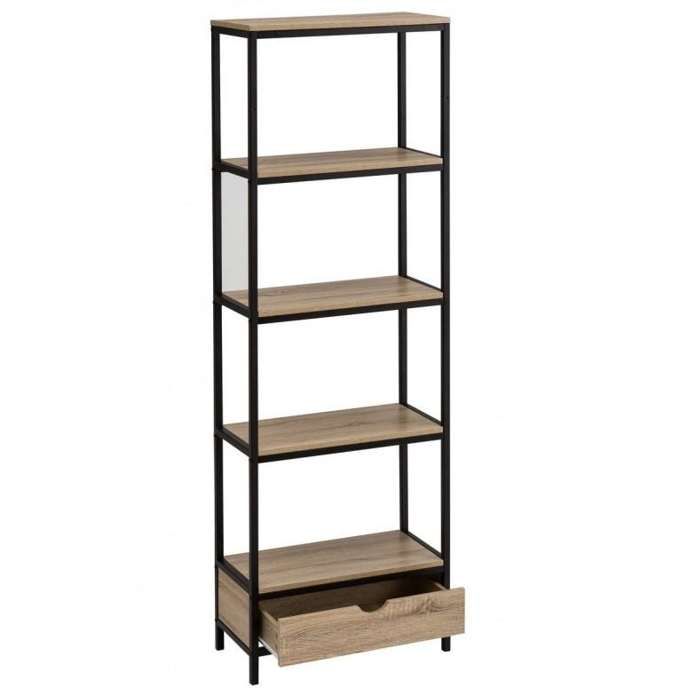 Estantería madera y metal industrial 5 estantes 1 cajón 180 cm