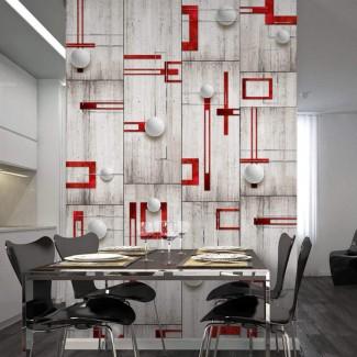 Papel pintado Rojo y cemento
