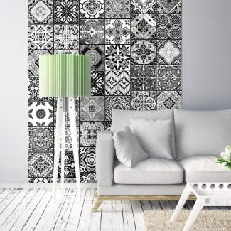 Papel pintado Arabescos en blanco y negro