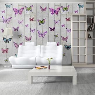 Papel pintado Mariposas y cemento