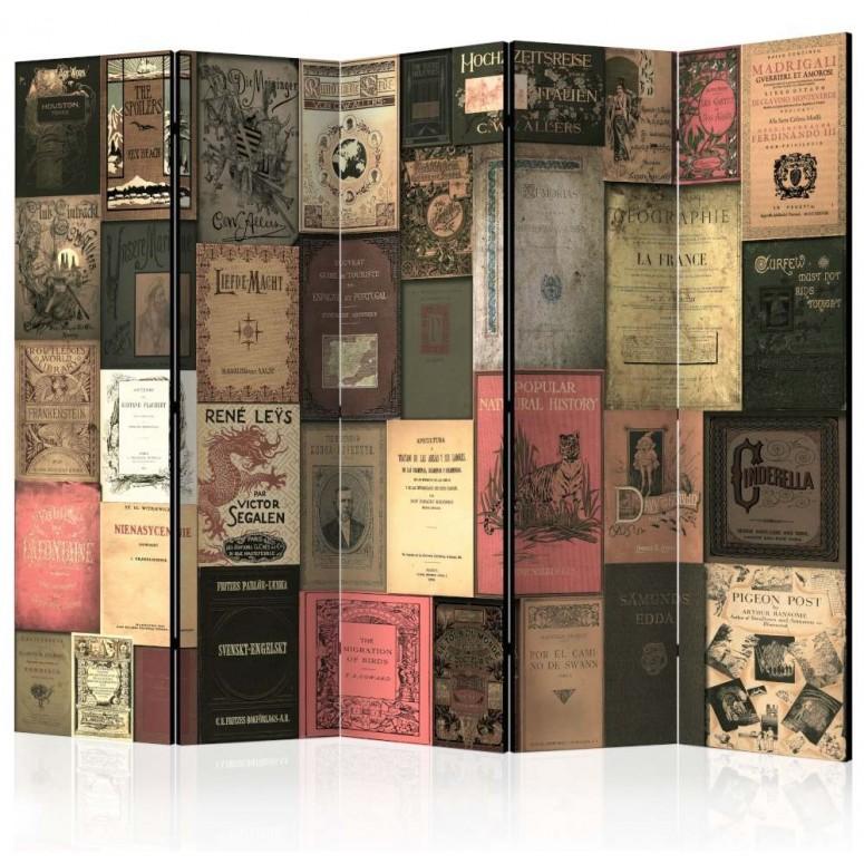 Biombo de 5 hojas Libros Vintage 225x172 cm