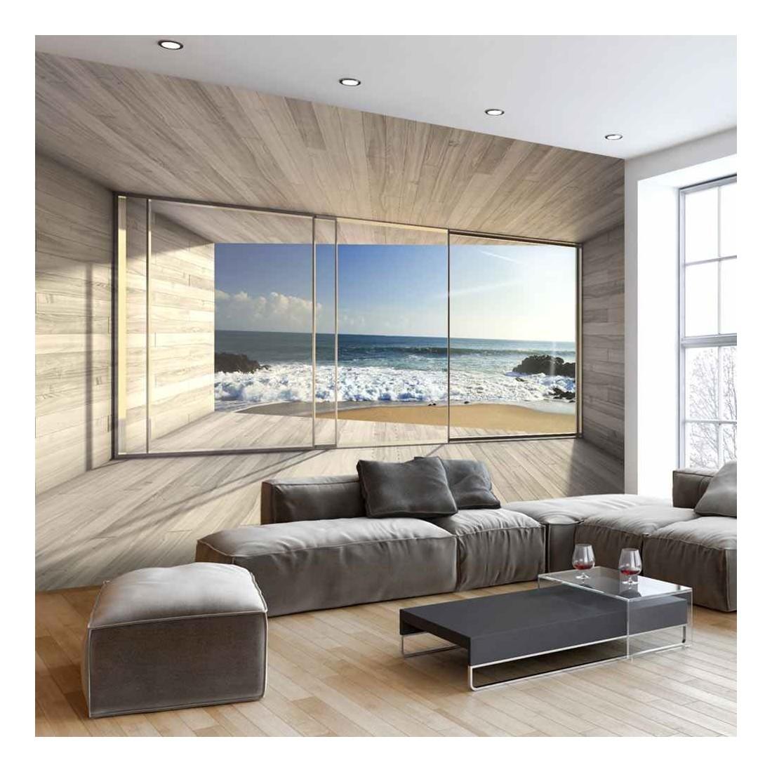 Fotomural Para Pared Gran Formato Madera Y Playa