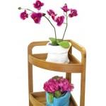 Rinconera de bambú de tres baldas