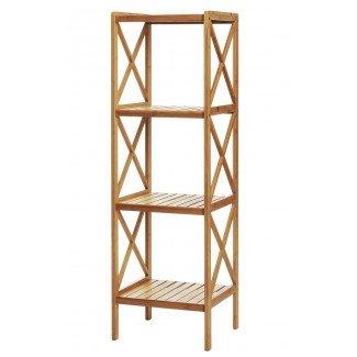 Estantería de bambú de 4 baldas 120 cm